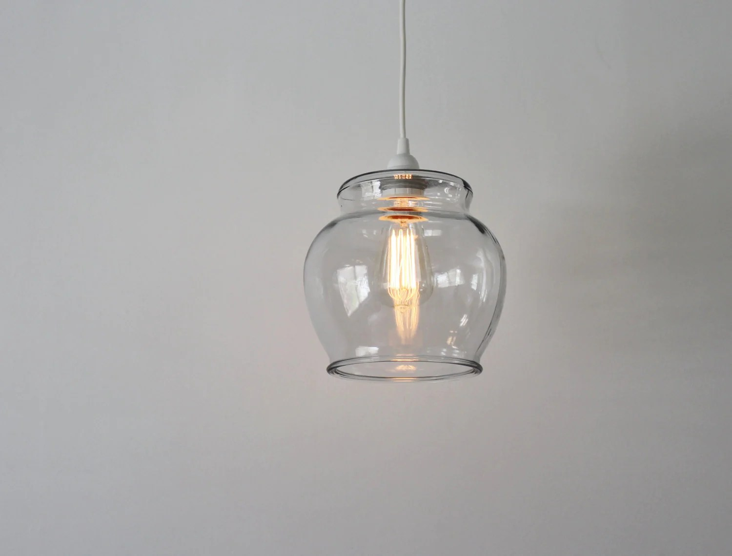 Glass Lamp Bowl Fish Bowl Pendant Lamp Hanging Pendant Lamp Made From A Vintage Glass Fish Bowl Terrarium Bootsngus Upcycled Lighting Fixture