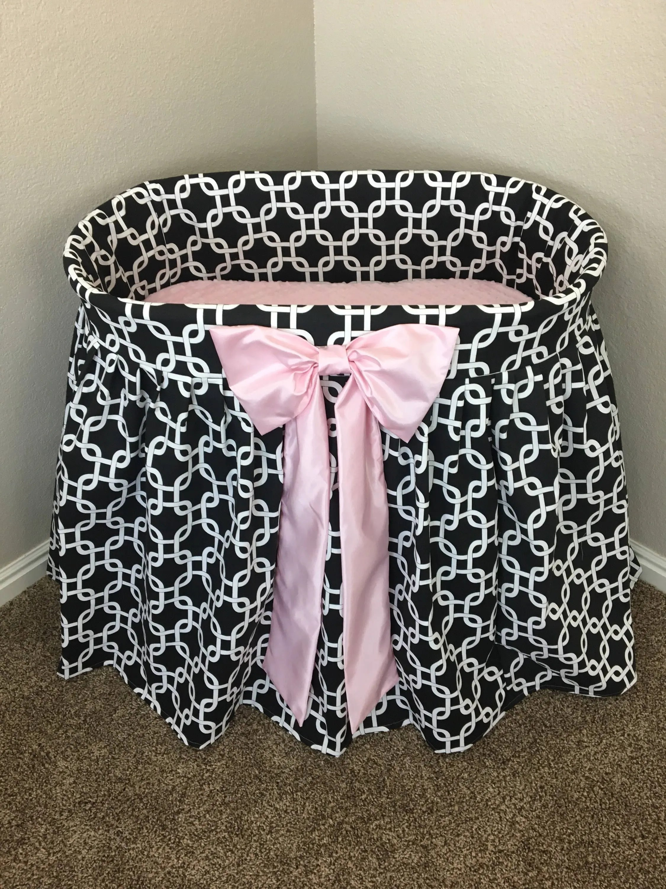 Baby Bassinet Linen Baby Bassinet Cradle Crib Cot Bed Baby Bedding Girl Boy Black And White Pink Satin Ribbon Choose Your Color Abusymother