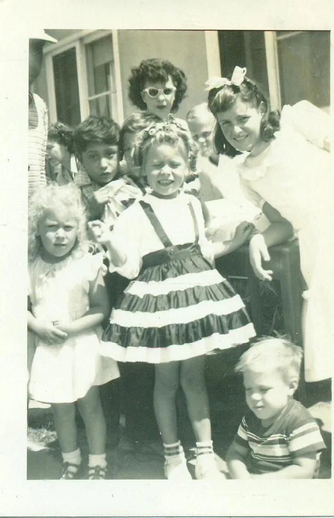 Little Kid Birthday Party 1950s Little Girl Birthday Party Kids Outside Group Playing 50s Vintage Photograph Black White Photo