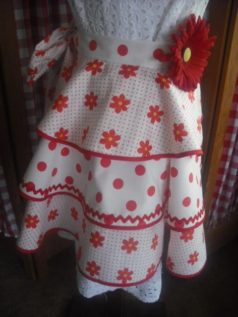 Garage Sale Dots Sale Upcycled Happy Red Flowers And Polka Dots Apron