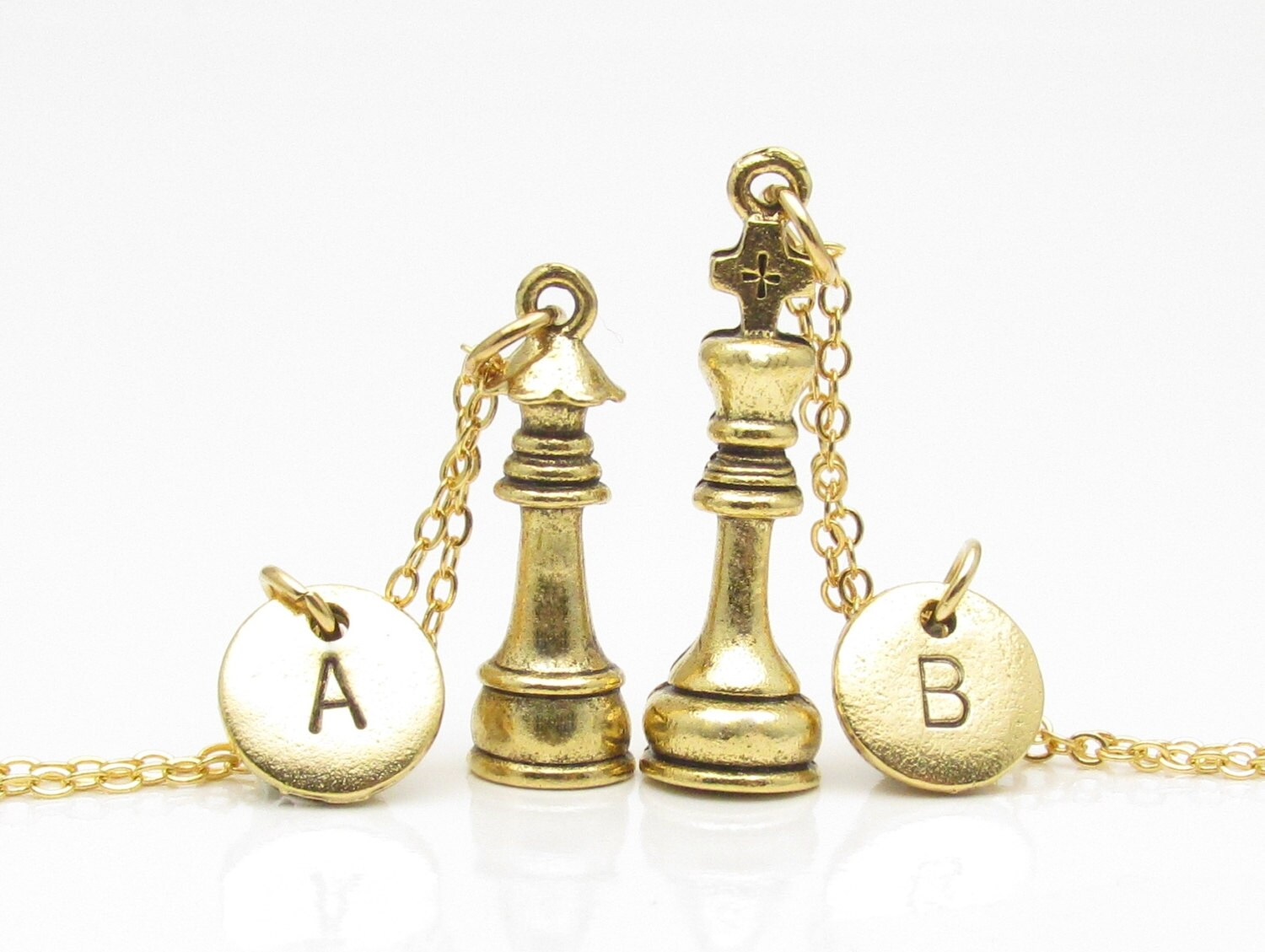 Gold Chess Pieces Chess Necklaces Gold King And Queen Chess Pieces His And Hers