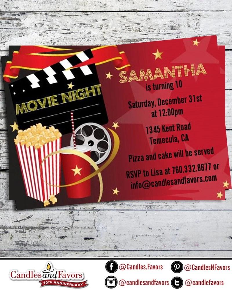 Movie Night Birthday Party Invitation Professionally Etsy