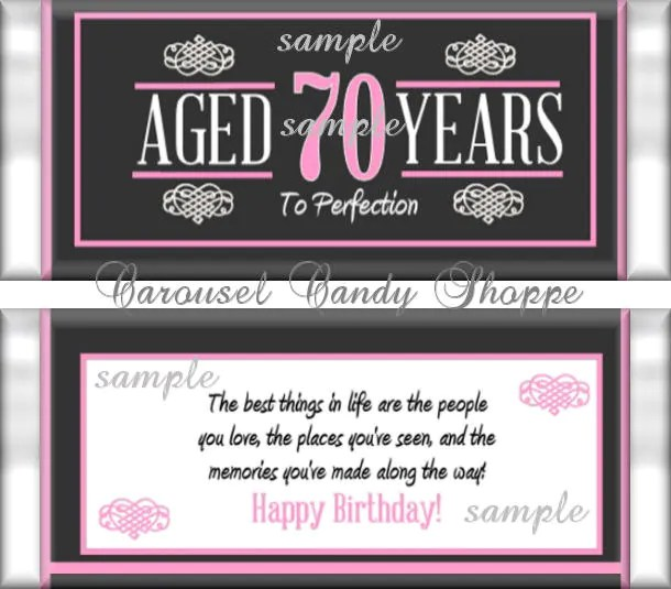 70th Birthday Party Favors Hershey\u0027s Candy Bar Wrappers Etsy