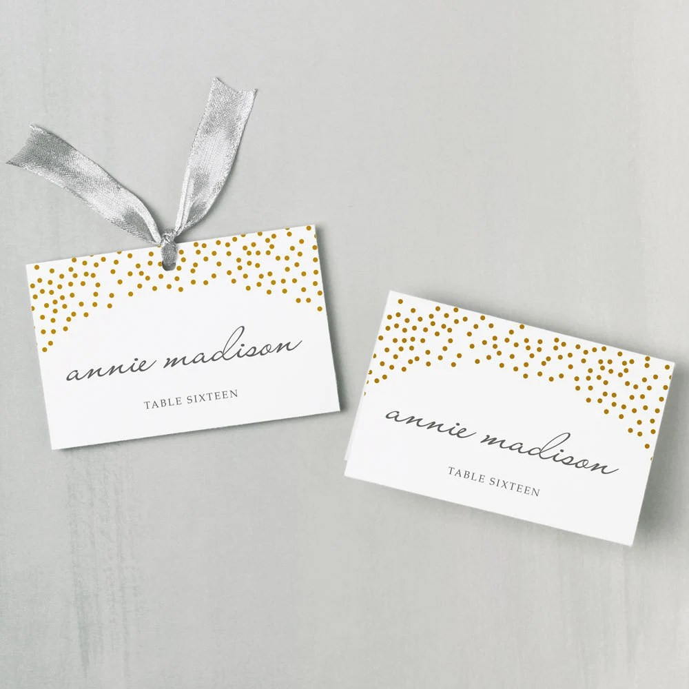 Printable Place Card Template INSTANT DOWNLOAD Gold Dots Etsy
