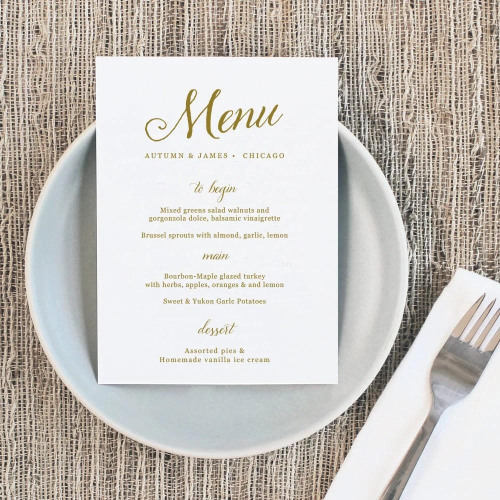 Printable Wedding Menu Wedding Menu Template Romantic Etsy