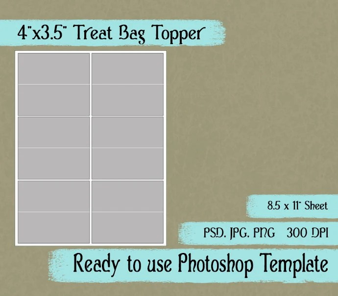 Treat Bag Toppers Digital Layered Collage Sheet Template Etsy
