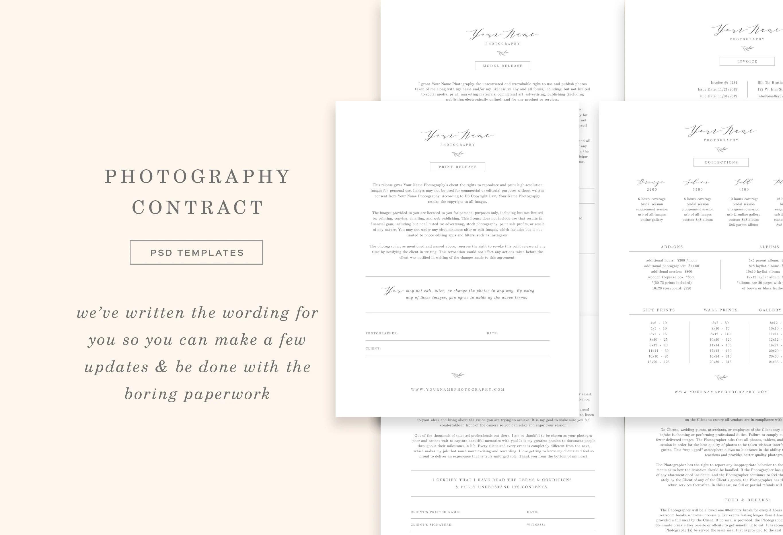 Wedding Photographer Contract Template Bundle Photography Etsy