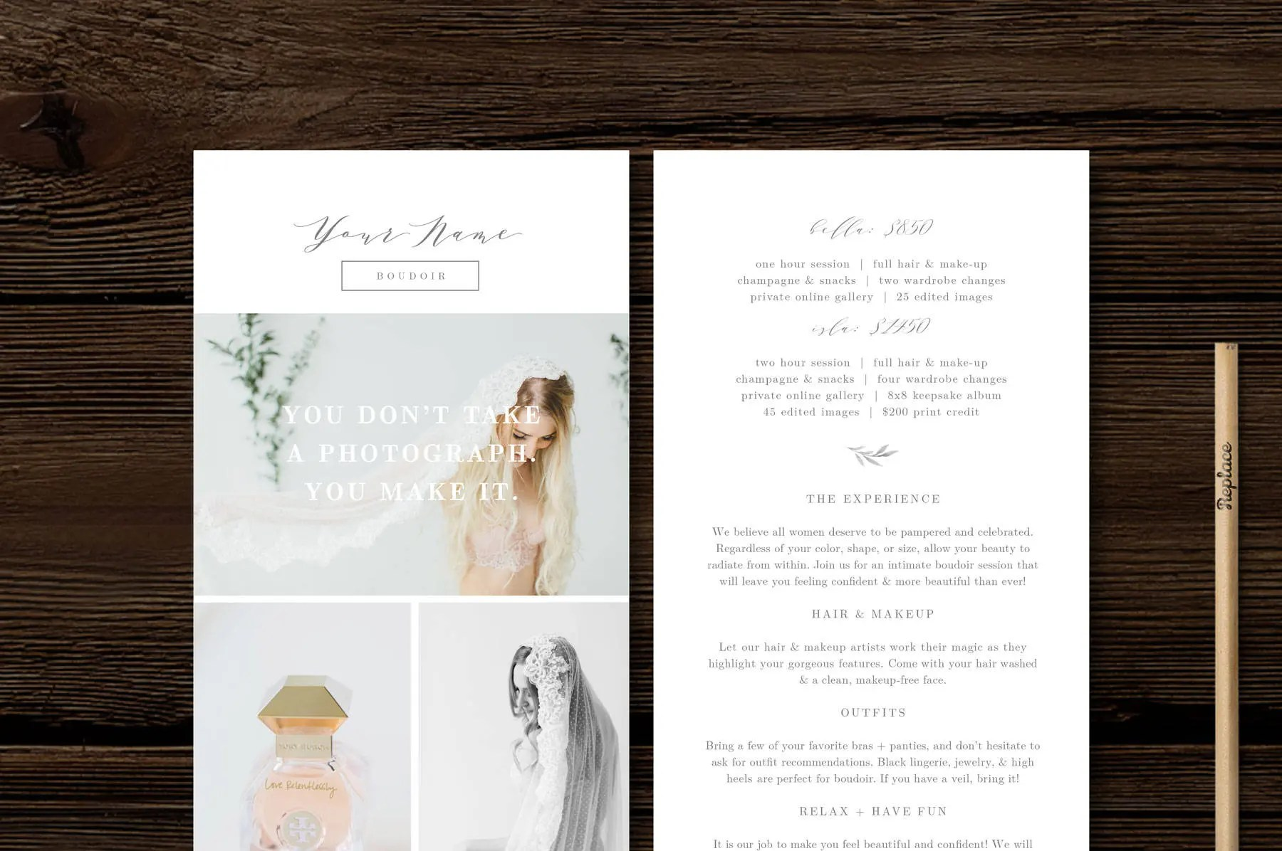 Calligraphy Templates Online Rack Card Template Modern Calligraphy Style Designs For Photographers Photoshop Templates Aspen
