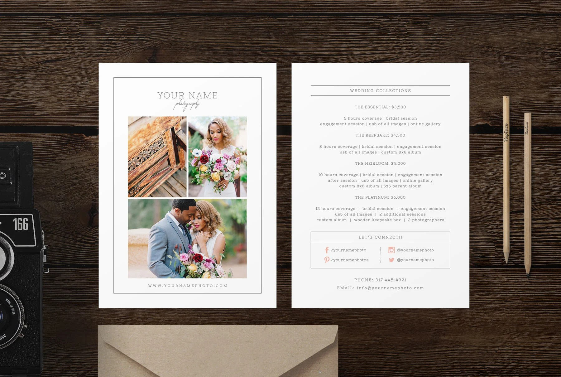 Rack Card Template for Photographers Wedding Photographer Etsy