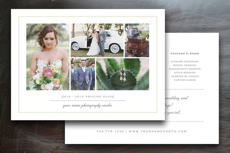 Wedding Photography Price List Template Photographer Price Etsy