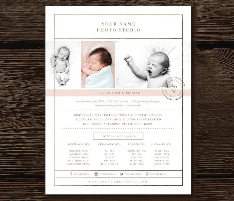 Newborn Photographer Templates Price List Photography Etsy