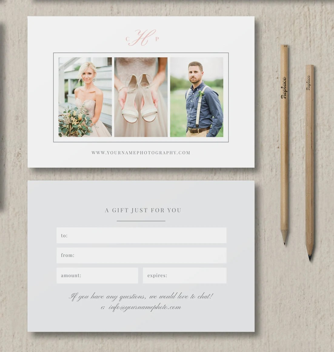 Photography Gift Certificate Template Gift Card Template for Etsy