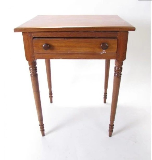 Antique Sheraton Table Stand Walnut Turned Legs 19d23w30h