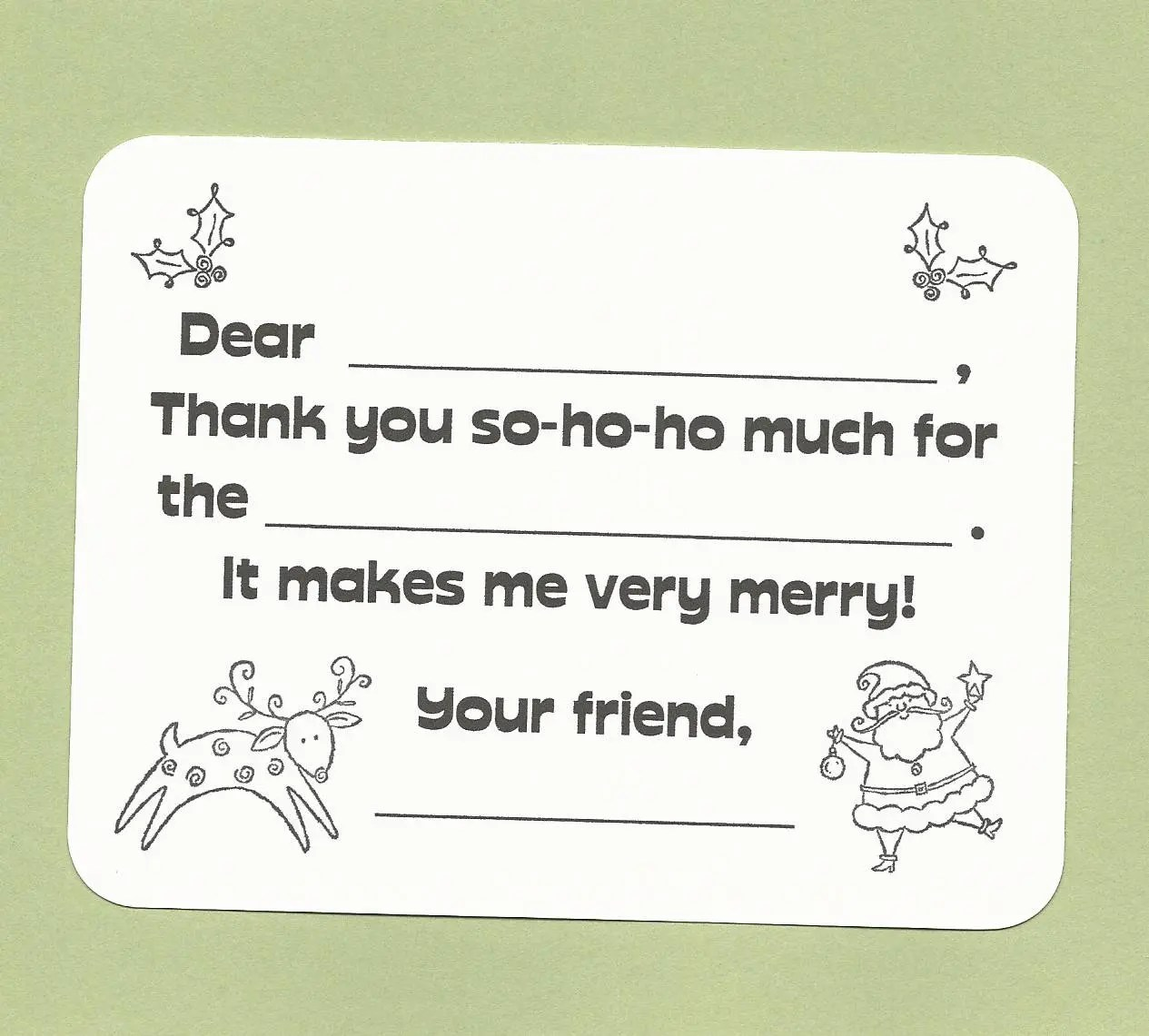 Kids Christmas Thank You Cards Fill in the Blank Cards Etsy