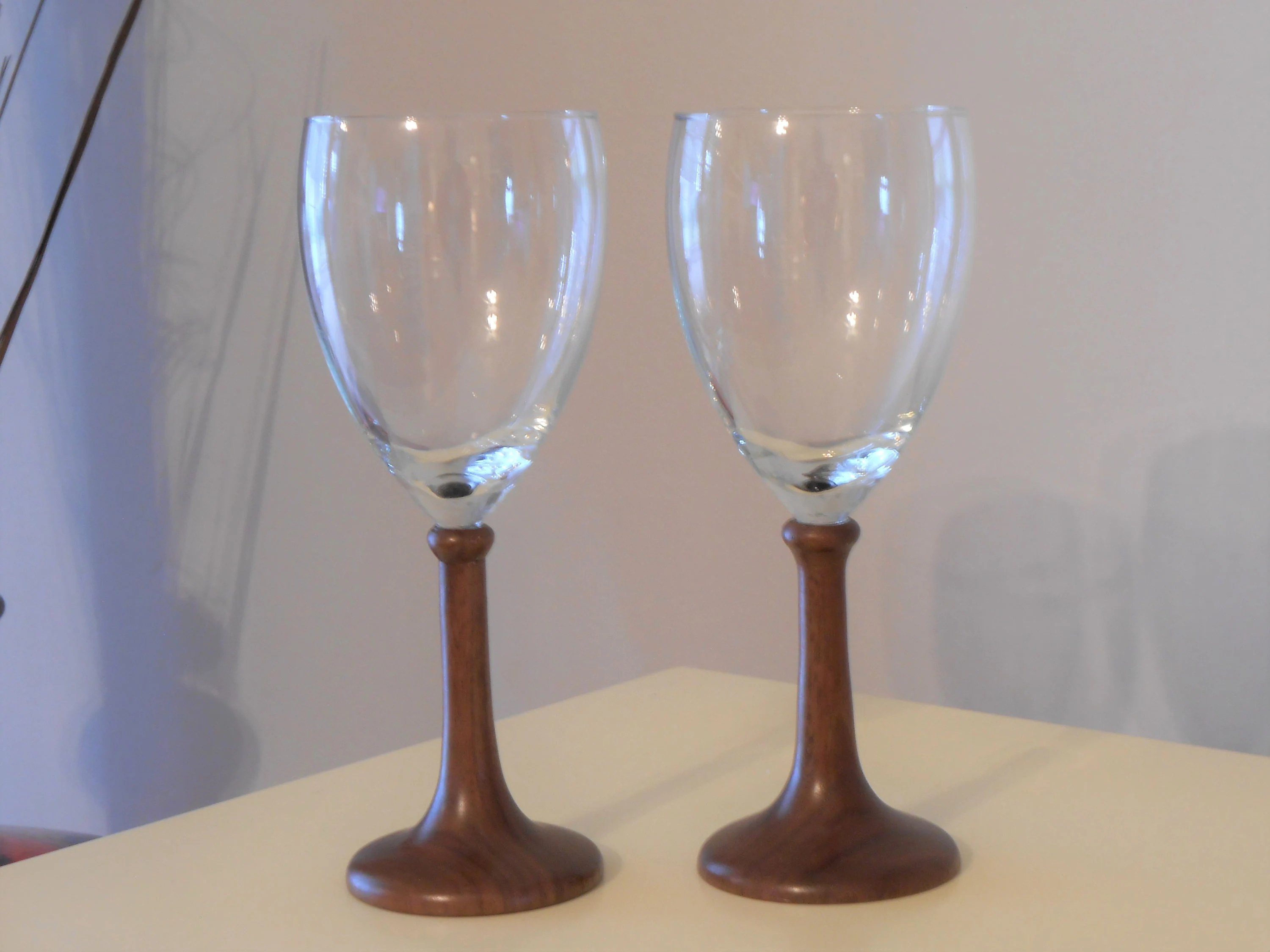 Chardonnay Wine Glass Wood Wine Glasses Hand Turned Walnut