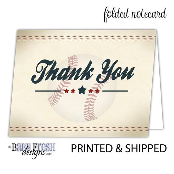 Vintage Baseball Birthday Thank You Cards \u2022 Flat or Folded notecards \u2022 SET  OF 10