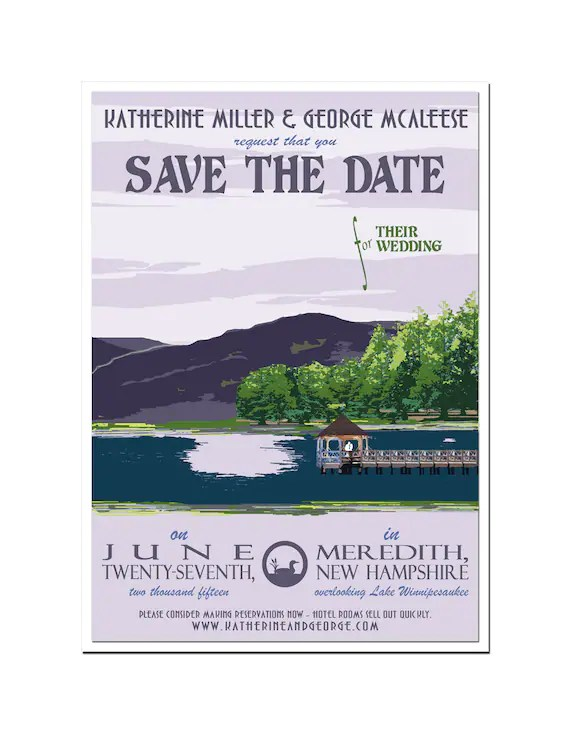 Vintage New Hampshire Lake Save the Date Card SAMPLE Etsy