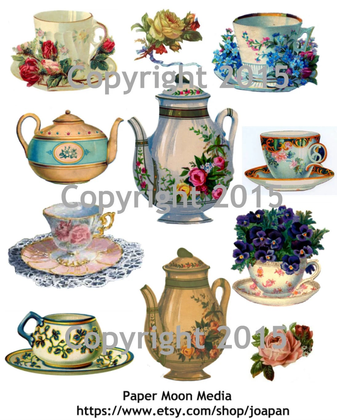 Printable Victorian Teapots and Teacups Collage Sheet Etsy