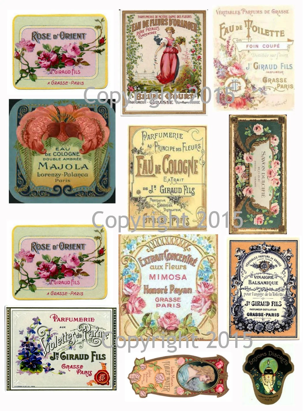 Printable French Vintage Perfume Labels Collage Sheet 106 Etsy