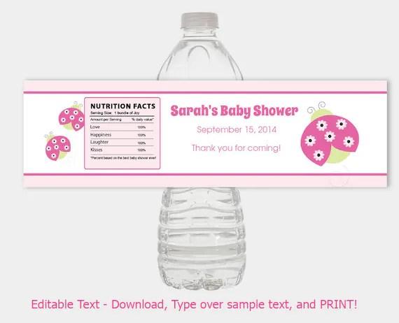 Sweetie Pie Ladybug Girl Baby Shower Water Bottle Labels / Ladybug