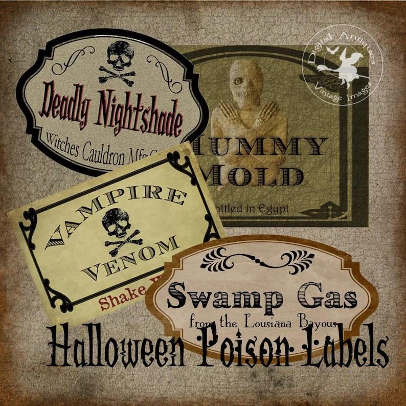 Halloween Poison Labels Vintage Witch\u0027s Cabinet Digital Etsy