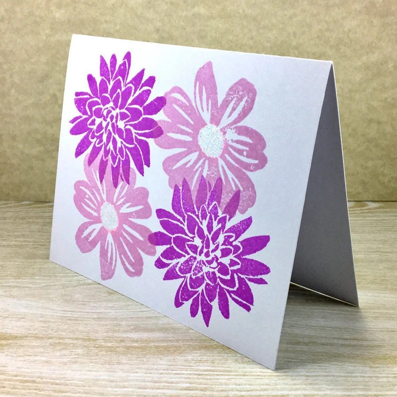 Purple Flower Note Card set floral blank note cards Etsy