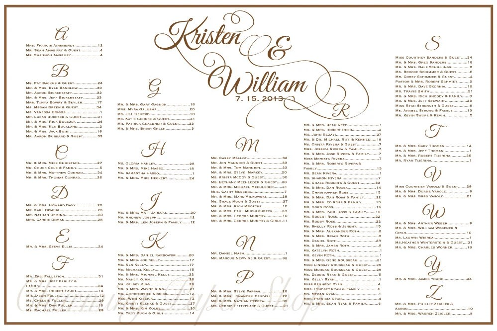 Wedding Seating Chart Table Seating Assignments Reception Etsy