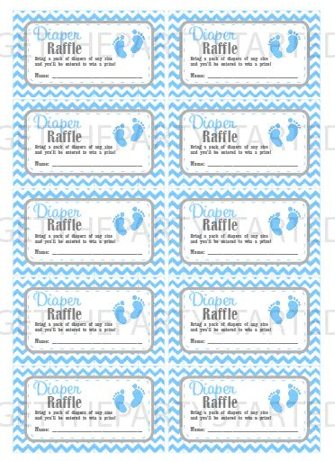 DIAPER RAFFLE TICKETS Printable Baby Shower Raffle Tickets Etsy