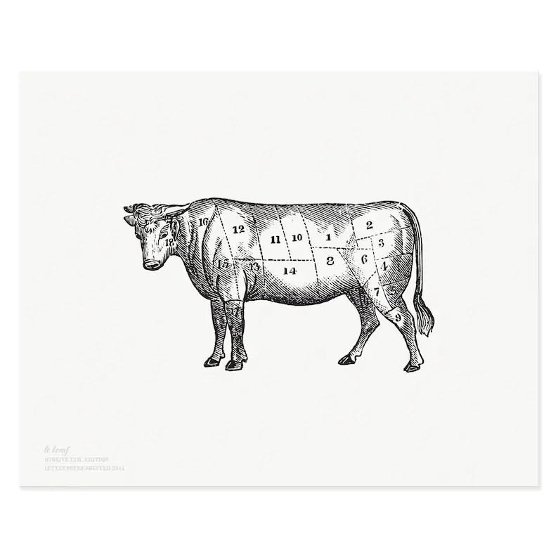 Letterpress Art Print Le Boeuf 8x10 Beef Meat Cuts Chart Etsy