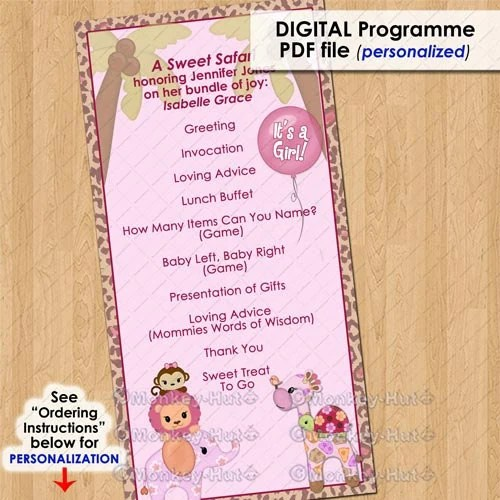 Baby Shower Program Template Gorgeous Sweet Safari Party Event