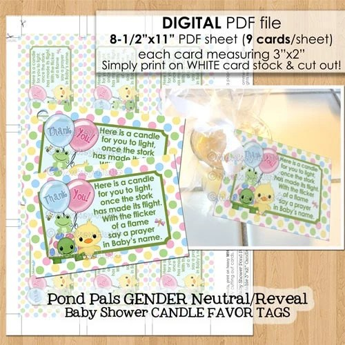 Pond Pals Baby Shower Candle Favor Tags PDF file candles Etsy