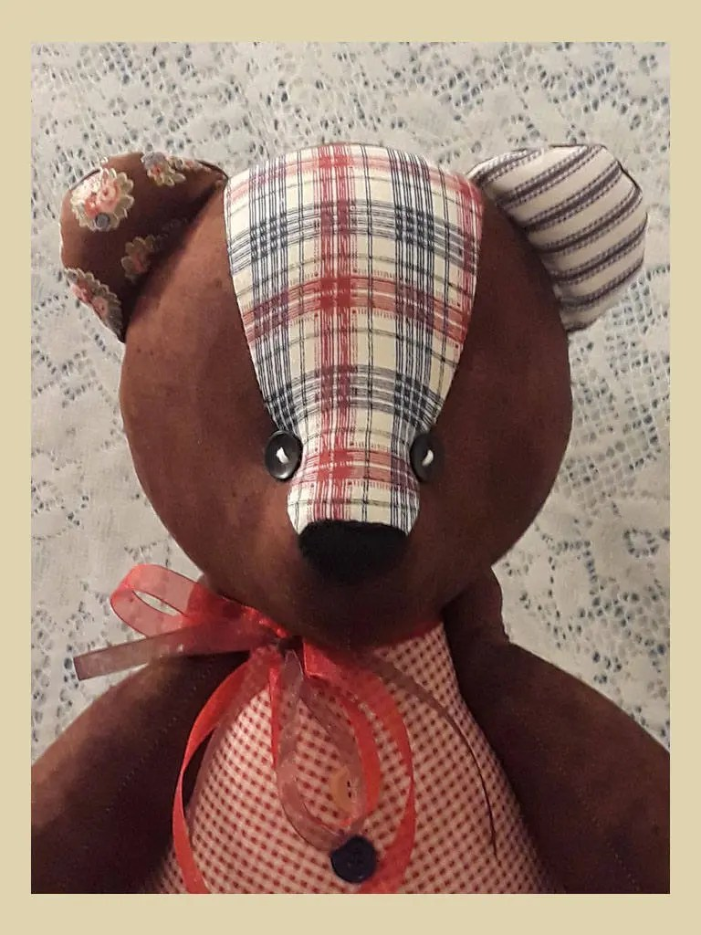 Teddy Plaid Jointed Patchwork Teddy Bear Brown With Red Gingham Red