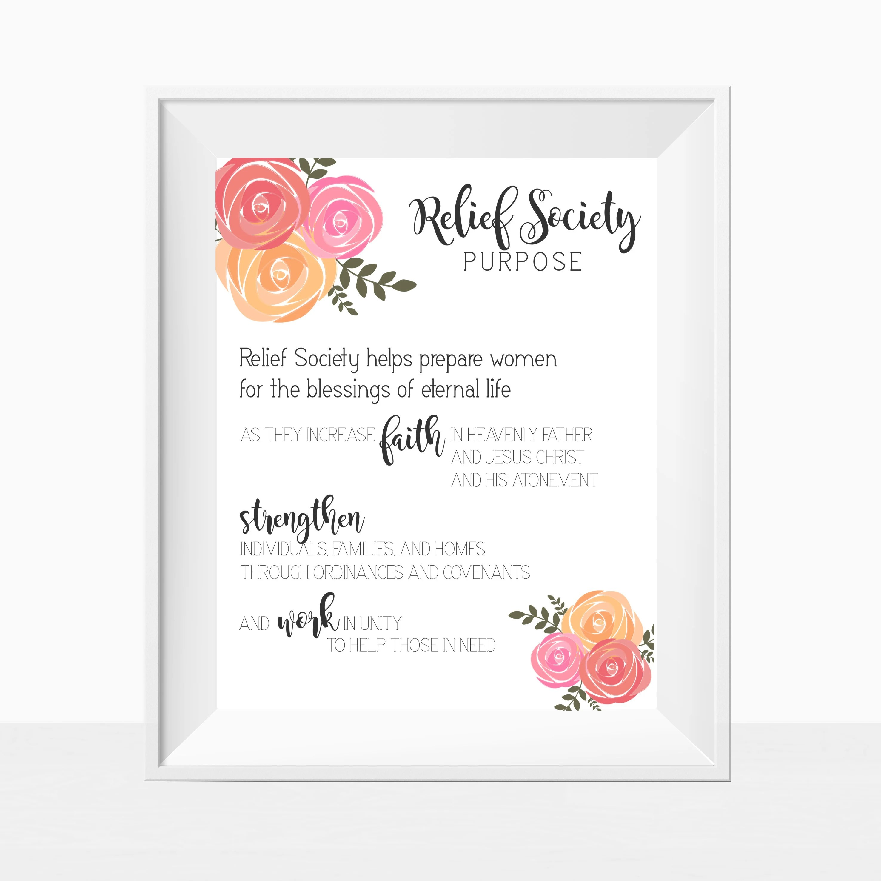 Printable LDS Relief Society Relief Society Purpose Etsy