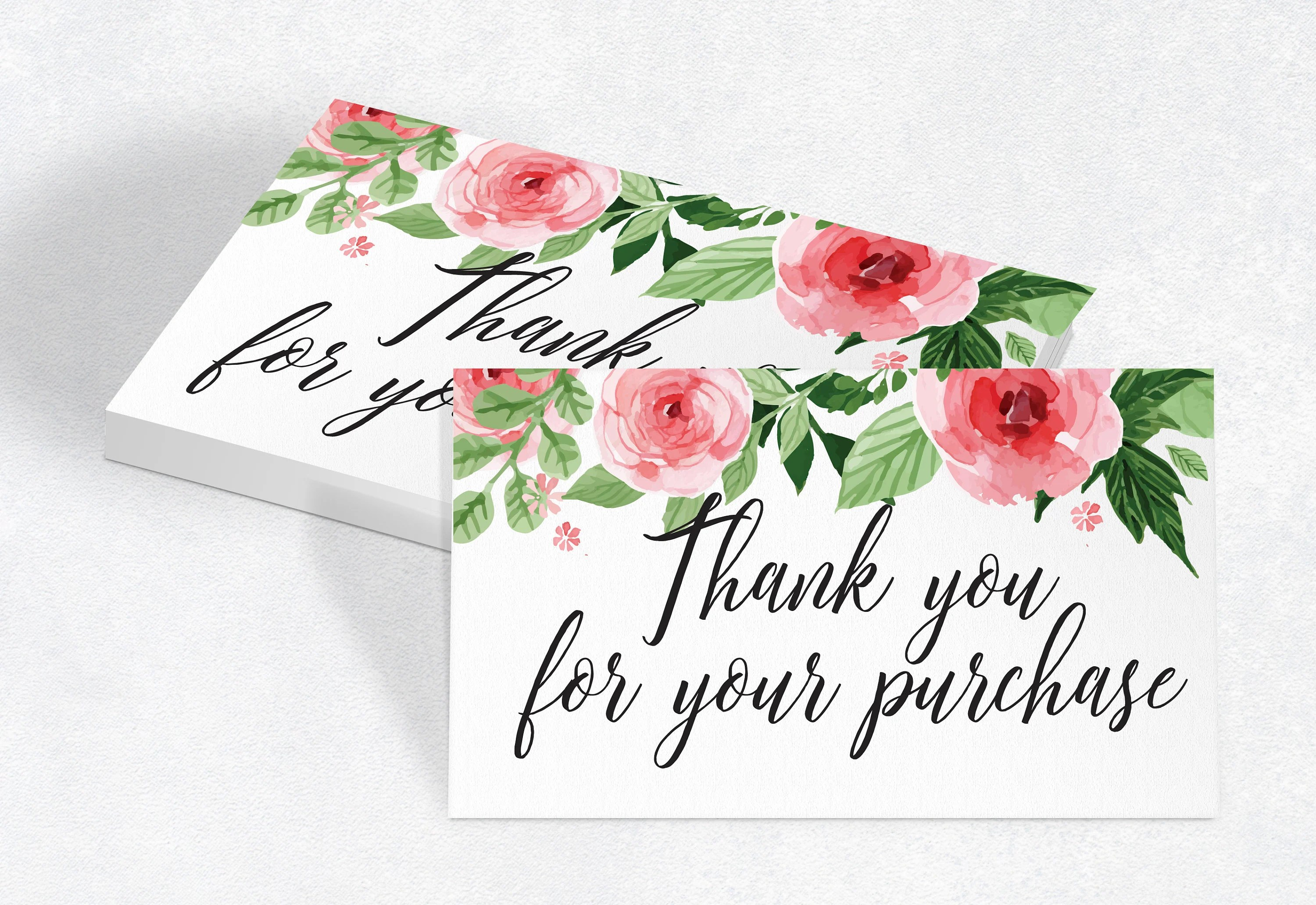 Printable Thank You For Your Purchase Card, Package Insert, Shipment