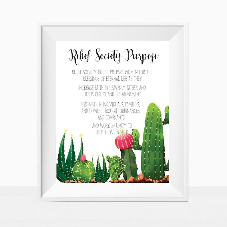 Printable LDS Relief Society Purpose Statement Church Print Etsy
