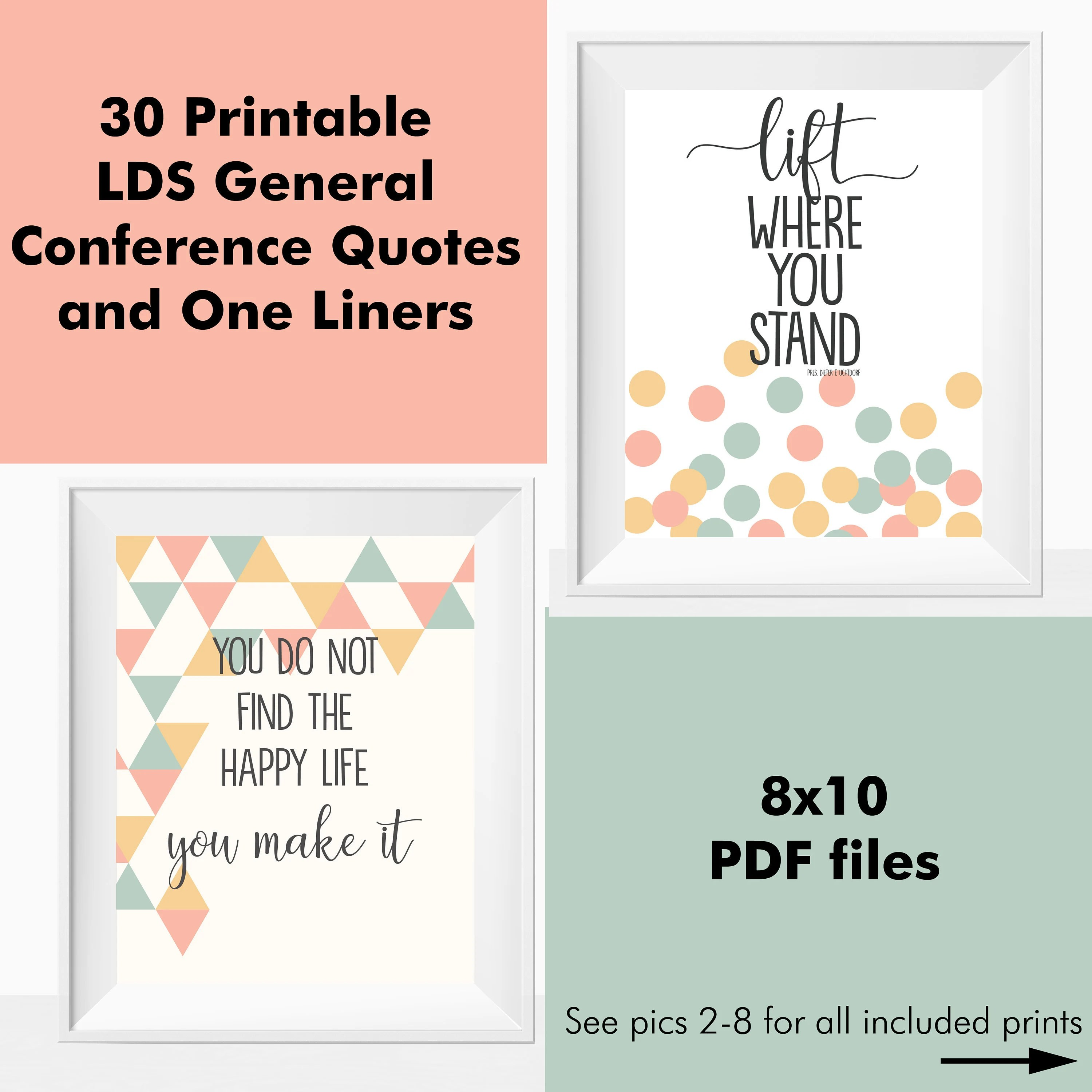 Printable LDS General Conference Quotes Mormon Wall Art Home Decor