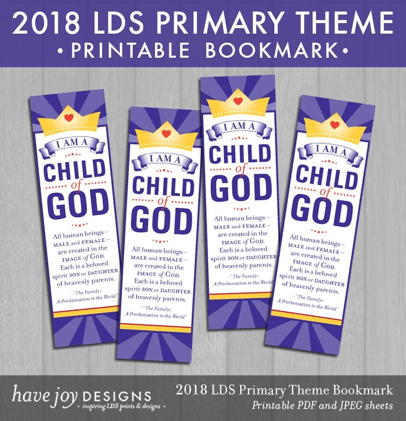 2018 LDS Primary Theme Bookmark Printable Instant Download Etsy