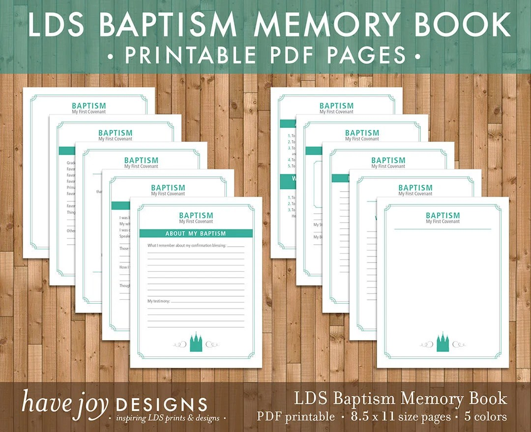 LDS Baptism Memory Book Printable 85 x 11 size pages in 5 Etsy