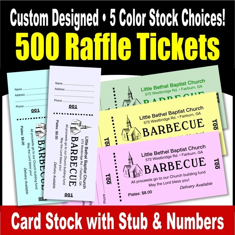 500 Card Stock Custom Raffle Tickets Preforated Stub Etsy