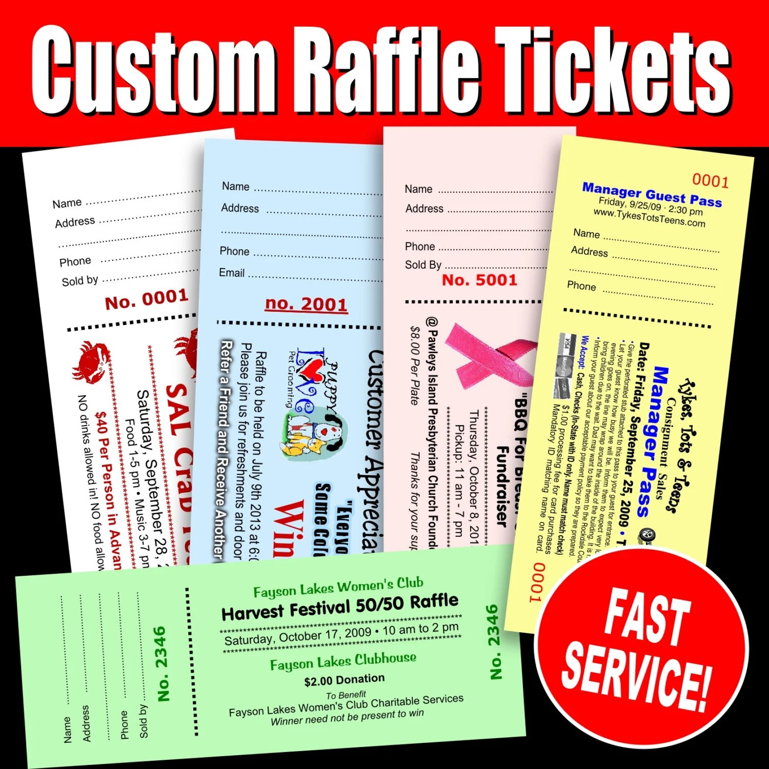 100 Custom Raffle Tickets Preforated Stub Numbered  Booked Etsy