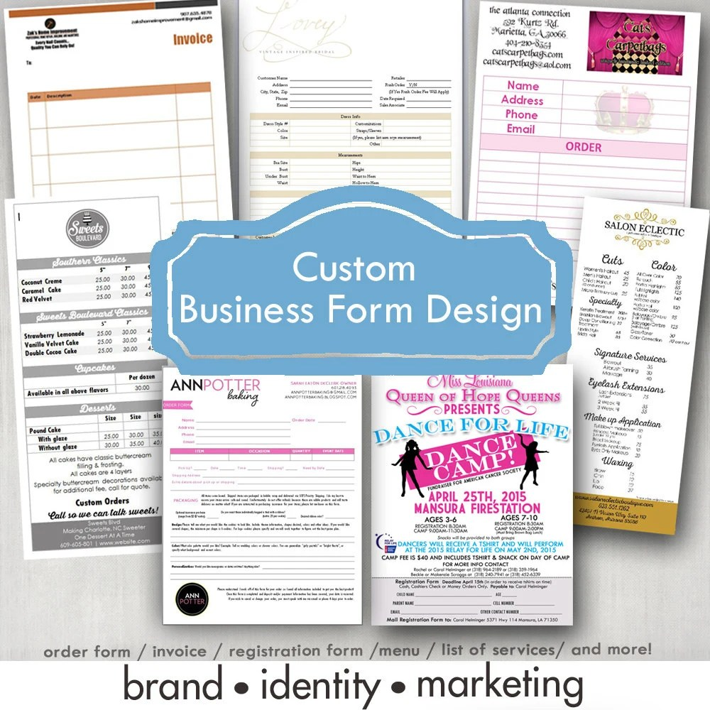 Custom Business Form Order Form Invoice Price List Etsy - custom business invoices