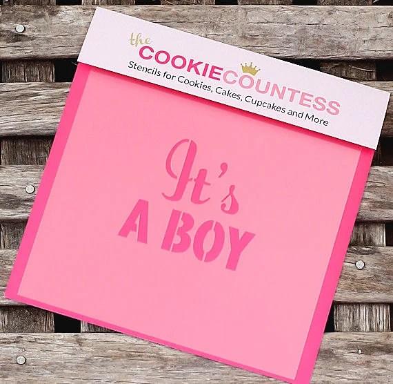 It\u0027s a Boy Cookie Stencil, Baby Shower Sugar Cookie Stencil, Fondant