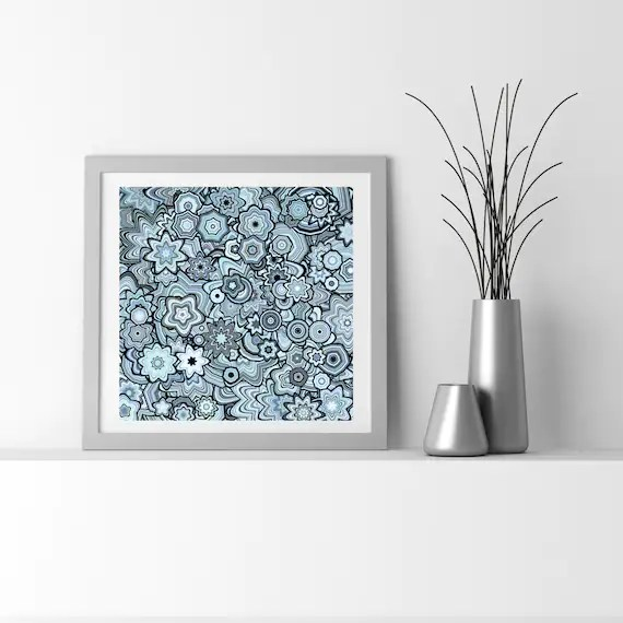 Light Teal Blue Particle Floral Stars Abstract Art Fine Art Etsy