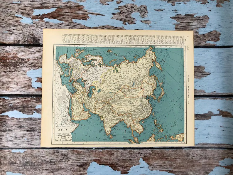 1937 Asia Antique Map Old Map of Asia  Eastern Europe Etsy