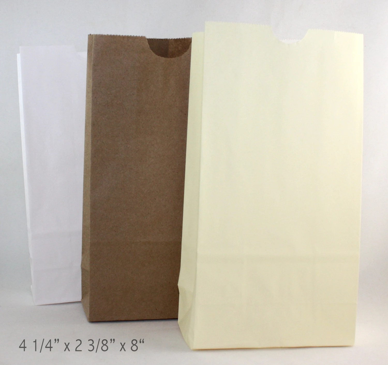 Flat Bottom Paper Bags 3 Color Choices 425 x 2 1/2 x 8 Etsy