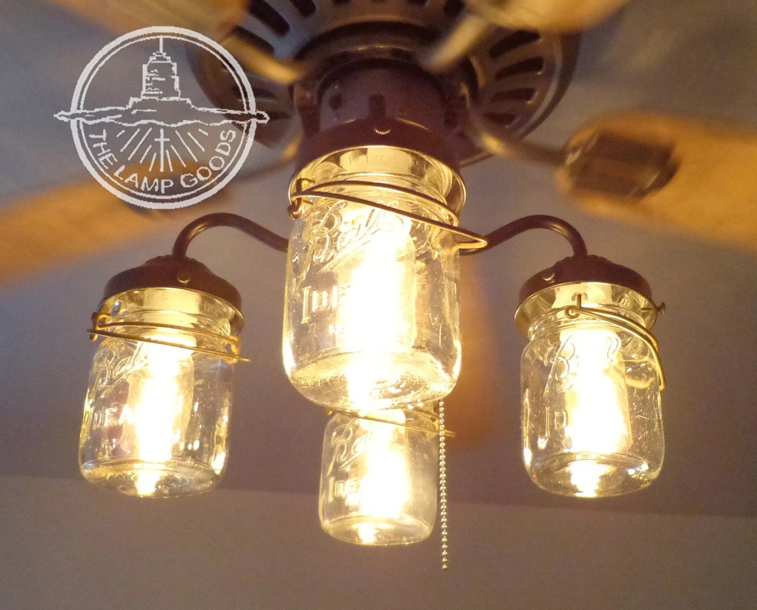 Modern Farmhouse Track Lighting Ceiling Fan Light Kit Vintage Canning Jar Mason Jar Chandelier Lighting Fixture Flush Mount Pendant Farmhouse Kitchen Track Lamp Goods