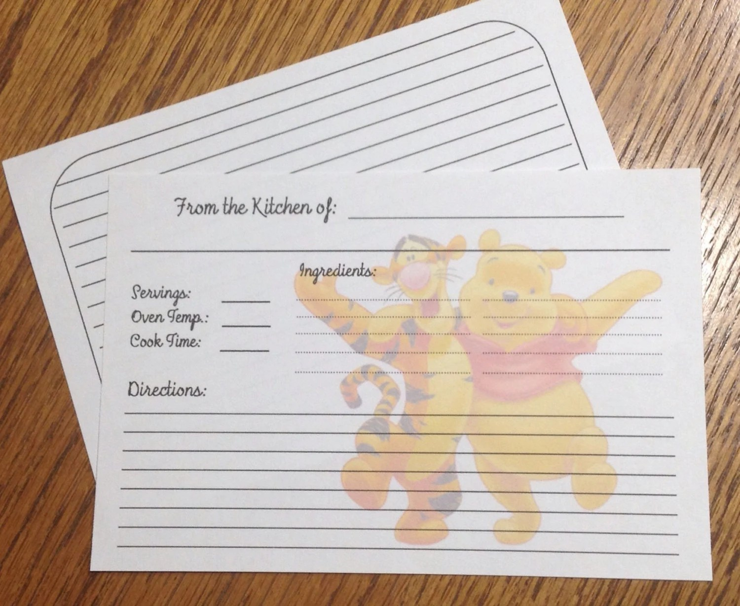 20 Recipe Cards 4x6 Double Sided decorated with Winnie the - double recipe cards