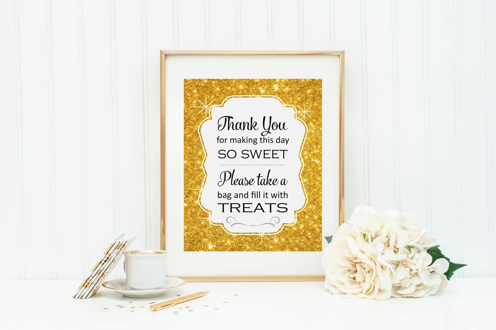 Candy Buffet Sign, Gold Candy Buffet, Printable Candy Bar Sign