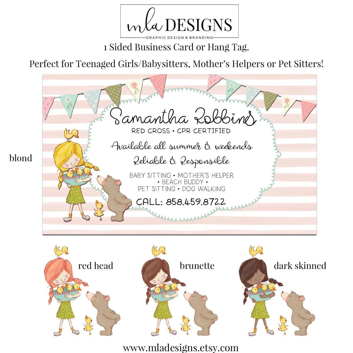 Baby Sitter Card Mother\u0027s Helper Business Card Pet Etsy