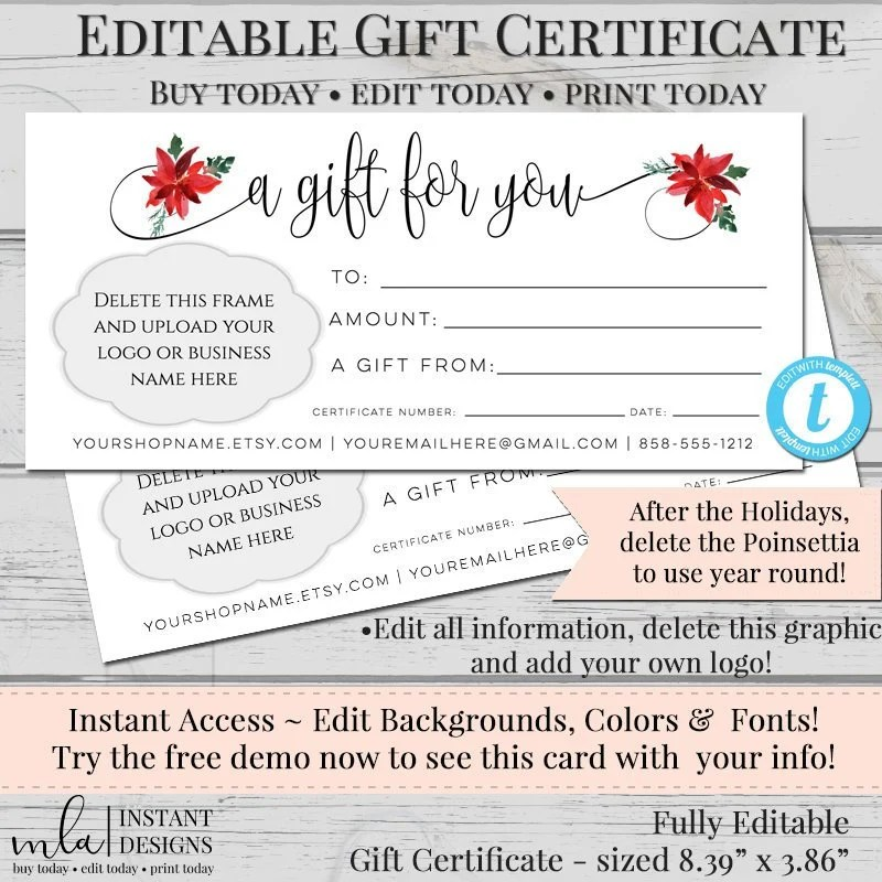 Gift Certificate Template DIY Gift Certificate Store Etsy